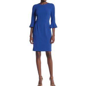 Donna Morgan Blue Ruffle Cuff Sheath Dress